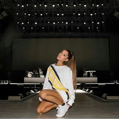 Ariana Grande is a singer and actress known for the songs The Way, Problem and her roles in Scream Queens, and as Cat Valentine on Victorious and Sam & Cat. Ariana Grande Images, Ariana Grande Fotos, Concert Ariana Grande, Ariana Grande Reebok, Ariana Grande Wallpapers, Ariana Grande Outfits 2017, Ariana Grande Clothes, Selena Gomez, Nickelodeon Victorious