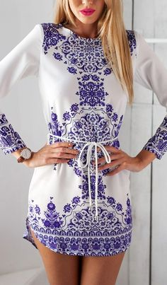 Porcelain Print Shift Dress