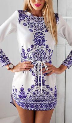 Porcelain Print Shift Dress