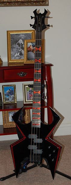 B.C. Rich WMD Widow bass with the stickers