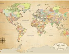 Earth toned world push pin travel map with brown frame and pins 24 x push pin world map paper anniversary gift world map push pin 1st year gumiabroncs Gallery