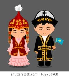 Kazakhs in national dress with a flag. Man and woman in traditional costume. Travel to Kazakhstan. People. Vector flat illustration.