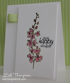 Pink Flowers of Kindness -  used the marker layering technique to color the flowers on whisper white card stock and then outlined the image with a Certainly Celery Stampin' Write marker. Added a simple sentiment and a tab of ribbon for interest.
