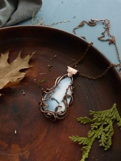 Dendritic agate pendant wire copper jewelry by UrsulaJewelry