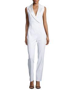 Satin Tux Lapel Jumpsuit, Size: 10/42, Off White - Mugler