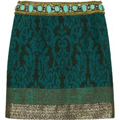 Matthew Williamson Embellished jacquard mini skirt (£595) ❤ liked on Polyvore featuring skirts, mini skirts, bottoms, saias, green, short green skirt, metallic mini skirt, green metallic skirt, embellished mini skirt and metallic skirt