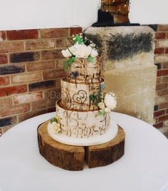 Rustic birch barch wedding cake by Daisychain's Cakes