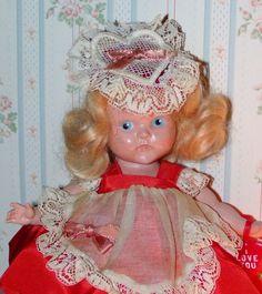VOGUE 1950 Strung Ginny Doll HOLIDAY PROMO Valentine #2 FACTORY ORIG,STAPLED HAT #HARDPLASTICGINNYPTDEYERAREHOLIDAYPROMODOLL