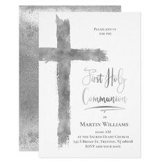 Faux silver foil cross First Holy Communion Invitation   Zazzle.com