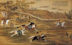 """《射猎图》清 郎世宁 纸本设色     郎世宁(1688—1766),意大利人,天主教士。康熙时来中国,工画,以西法参入中国画中,自成一家。于雍正、乾隆两朝供奉""""内廷""""。在《射猎图》中,郎世宁表现了骁勇善战的射猎人物形象,很是写实。郎世宁所创造的此类风格的中国画可以说只有他一人为代表,最终也未能蔚然成风,究其原因,可能就在于它过分写实,不是中国画之风。"""