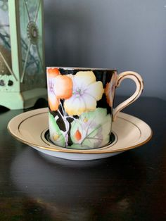 Vintage Paragon Demitasse Cup and Saucer, Gorgeous Floral Arrangement, on a Black Cup and Peach with Black Saucer,Double Warrant, England Chocolate Photos, Hot Chocolate, Cherry Blossom Bonsai Tree, Queen Anne, Hand Blown Glass, Bone China, Cup And Saucer, Happy Shopping, Pink Flowers