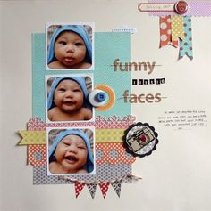 """Funny Little Faces"" by Tenny, as seen in the Club CK Idea Galleries. #scrapbook #scrapbooking   #creatingkeepsakes"