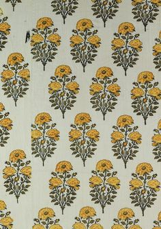 """wallpaper inspiration + """"From Northern India, this sample is a length of printed, painted, and dyed cotton that came from a dress or furnishing fabric. Early century, from Indian Florals. Indian Patterns, Textile Patterns, Textile Prints, Print Patterns, Print Fabrics, Lino Prints, Floral Patterns, Block Prints, Floral Designs"""
