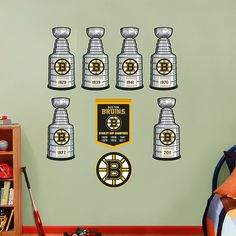 Boston bruins wall clock only at Bruins room decor