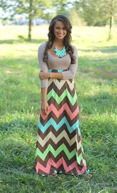 The Pink Lily Boutique - Color Me Fabulous Chevron Maxi, $44.00 (http://www.thepinklilyboutique.com/color-me-fabulous-chevron-maxi/)