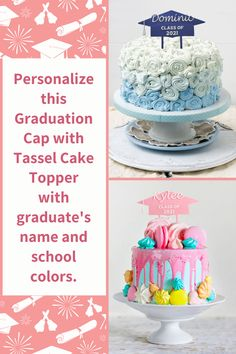 """Congrats Class of 2021! Honor your graduate with a personalized Grad Cap Cake Topper!Your graduate's school colors and name can be incorporated into this Graduation Cap and Tassel cake topper. It is also a memorable keepsake. Size: 3.5"""" H x 8 """" W with 2"""" stakes. ORDERING: 1) Select Cap Color and Tassel & Text Color.2) Enter Name (10 letters max.). We alter the width and height of the letters, as well as the spacing, to ensure that the name fits within the width. Visit our website for details Color 2, Text Color, Cap Cake, Cake Holder, Cake Kit, Money Cake, Surprise Box, Gift Of Time, Grad Cap"""