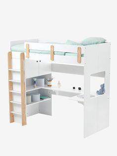 Loft bed combined EVEREST LINE white / wood – Space saving compact set to sleep, work, rest, play … Comes with box spring. DIMENSIONS L 194 cm x D 96 cm with scale) x H 180 cm H Source by Wood Sofa, Wood Beds, Mezzanine Bedroom, Mount Everest, White Bedding, Metal Furniture, Dream Rooms, White Wood, Girls Bedroom
