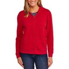 Faded Glory Women's Cozy Fleece Zip Up Hoodie, Size: Medium