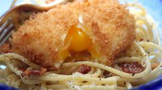 Spaghetti Carbonara With Deep-Fried Poached Eggs {recipe}