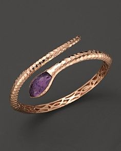 Roberto Coin rose gold and amethyst snake bangle. Via Bloomingdale's.