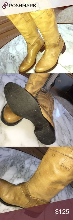 Janet & Janet beautiful leather riding boots. Janet & Janet mustard color soft genuine leather riding boots. Boots shows some signs of wear. Pics are included. janet & janet Shoes Combat & Moto Boots