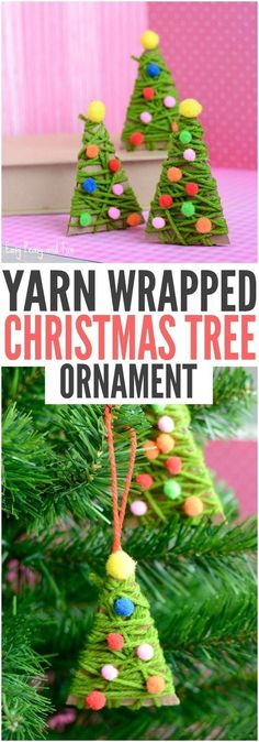 Yarn Wrapped Christmas Tree Ornaments, DIY and Crafts, DIY Yarn Wrapped Christmas Tree Ornament. Pretty Christmas Ornaments for Kids to Make! Noel Christmas, Diy Christmas Ornaments, Christmas Wrapping, Homemade Christmas, Holiday Crafts, Holiday Fun, Christmas Tree Decorations For Kids, Kids Ornament, Christmas Gifts For Children To Make