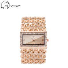 Classy Women, Crystal Bracelets, Square Watch, Bracelet Designs, Fashion Bracelets, Gold Watch, Luxury Branding, Bracelet Watch, Quartz