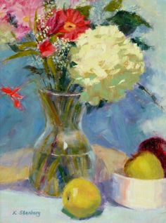 "Hydrangea Still Life Original Oil Painting ""Hydrangea and Baby's Breath"" by KimStenbergFineArt, $300.00"