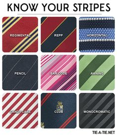 """bows-n-ties: """"Striped Tie Guide: Learn how to wear 9 of the most common necktie…"""
