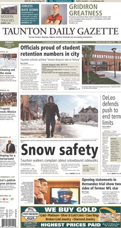 The front page of the Taunton Daily Gazette for Friday, Jan. 30, 2015.
