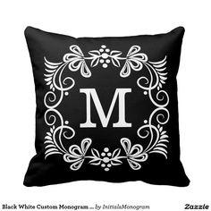 Black White Custom Monogram Decorative Pillow