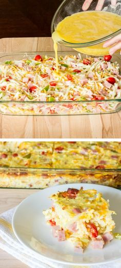 In this easy Denver omelet hash brown casserole, beaten eggs are poured over a mix of hash browns, bell pepper, onion, tomato, garlic, and cheese; and baked