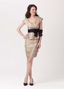 Shimmer Tiered Dress with Portrait Collar Style 268122
