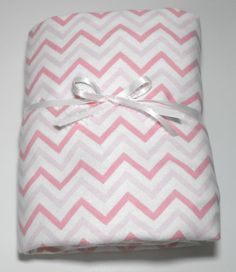 Pink and White Chevron Flannel Fitted Toddler Sheet by KidsSheets, $26.00