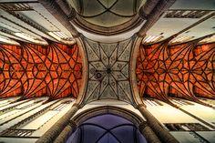 Lines on the wooden ceiling by Bas Lammers. Saint Bavokerk Haarlem, Neetherlands.