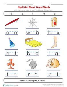 Kindergarten reading & writing worksheets: spell out short vowel words Vowel Worksheets, Writing Worksheets, Kindergarten Worksheets, Kindergarten Reading, English Kindergarten, Kindergarten Phonics, Literacy, Preschool Crafts, Free Preschool