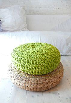 green crochet meditation pillow