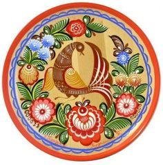 Folk Gorodets painting from Russia. A floral pattern with a bird. #art #folk #painting #Russian
