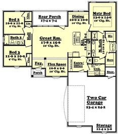 Traditional Style House Plan - 3 Beds 2 Baths 1600 Sq/Ft Plan #430-55 Floor Plan - Main Floor Plan - Houseplans.com