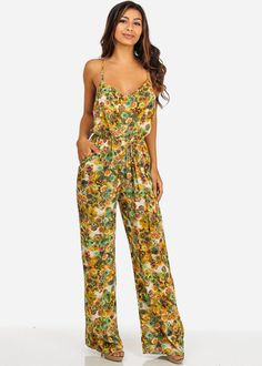 Yellow Cotton Floral-Print Spaghetti Strap Jumpsuit