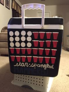 Pi kappa phi cooler made by sigma kappa Fraternity Formal, Fraternity Coolers, Frat Coolers, Pi Kappa Phi, Delta Gamma, Fiji Frat, Formal Cooler Ideas, Beach Cooler, Cooler Connection