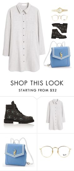 """""""Untitled #1583"""" by uniqueautumn ❤ liked on Polyvore featuring Valentino, MANGO, Usagi, Ray-Ban and Topshop"""
