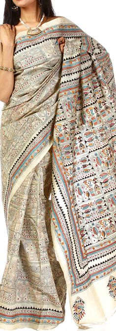 "Previous pinner said, ""Kantha Stitch saree from Bengal. Traditionally this hand embroidery was done on quilts depicting scenes from folklore."" Wait, is this hand embroidery? It looks like a print in the photograph. I that is really embroidery, that took a lot of time!"