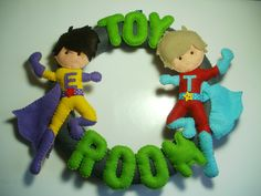 Superhero Toy Room bedroom nursery decor name ring - pinned by pin4etsy.com