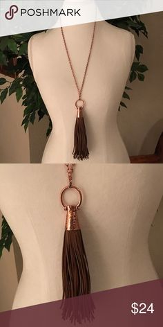 """Long Copper and Light Brown Leather Necklace. Long Copper and Light Brown Leather Neclace. 28"""" Copper Chain with 2"""" extension. Tassel Pendant is 7"""" long. Crooked Fence Jewelry Necklaces"""
