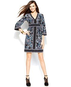 INC International Concepts Printed Bell-Sleeve Empire-Waist Dress