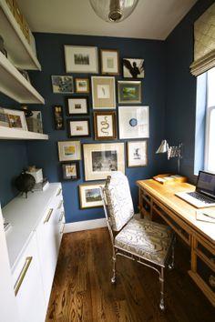 van deusen blue by benjamin moore - trim and shelves are painted swiss coffee by benjamin moore.