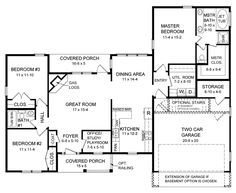 Ranch House Plan chp-24019 at COOLhouseplans.com  1600 sq ft - but I would make some changes!