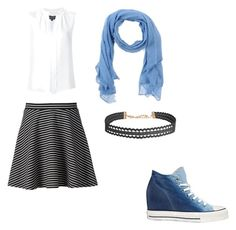 """""""Blue/white"""" by veronicasahowell on Polyvore featuring Altea, Apt. 9, Converse, Derek Lam and Humble Chic"""
