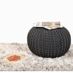 KNITTED POUFFE CHUNKY KNIT FOOT STOOL CUSHION Pouf Ottoman, Leather Pouf, Leather Ottoman, Stool Cushion, Square Pouf, Crochet Box, Moroccan Pouf, Hand Knitting